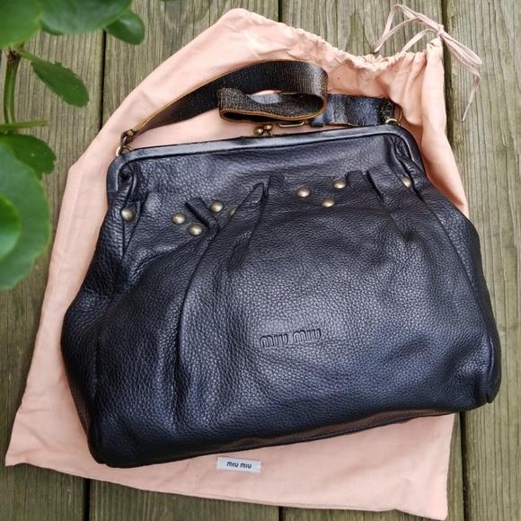 Vintage Miu Miu Leather Studded Handbag by Prada. M 5bb666085c4452dde366d51f ba87736eda